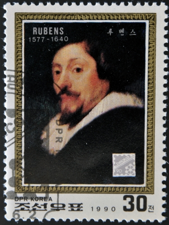 humanist: NORTH KOREA - CIRCA 1990: A stamp printed in DPR Korea shows self-portrait by Peter Paul Rubens, circa 1990  Editorial