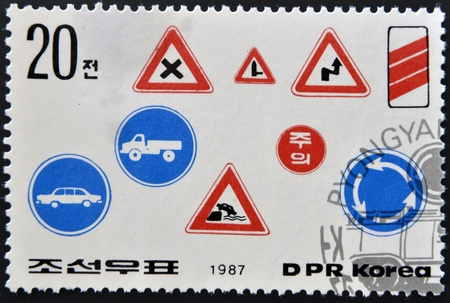 NORTH KOREA - CIRCA 1987: A stamp printed in DPR Korea shows road safety, circa 1987  Stock Photo - 17139764