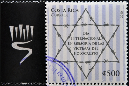 COSTA RICA - CIRCA 2010: A stamp printed in Costa Rica Celebrating the International Day in Memory of the Victims of the Holocaust, circa 2010