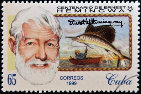 hemingway: CUBA - CIRCA 1999: A stamp printed in Cuba shows Ernest Hemingway, circa 1993 Editorial