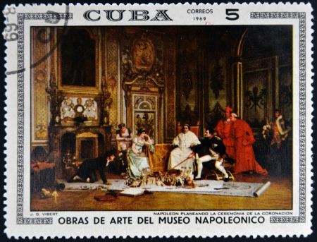 CUBA - CIRCA 1969: Stamp printed in Cuba dedicated to Artworks Napoleon Museum, shows Napoleon's Coronation Planning by Jehan Georges Vibert, circa 1969 Stock Photo - 17145807