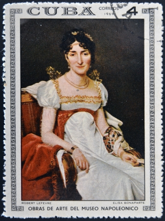 CUBA - CIRCA 1969: Stamp printed in Cuba dedicated to Artworks Napoleon Museum, shows Elisa Bonaparte by Robert Lefevre, circa 1969
