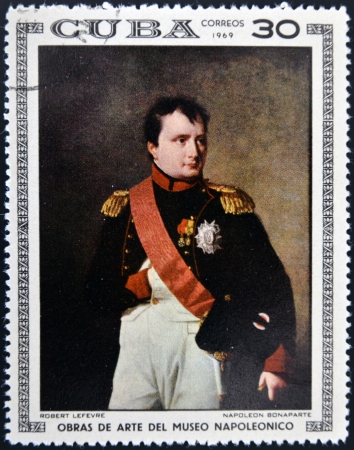 CUBA - CIRCA 1969: Stamp printed in Cuba dedicated to Artworks Napoleon Museum, shows Napoleon Bonaparte by Robert Lefevre, circa 1969 Stock Photo - 17145485