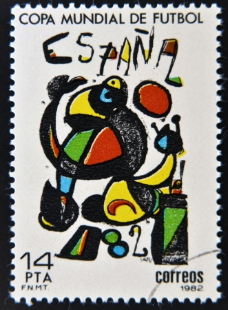 SPAIN - CIRCA 1982: Stamp printed in Spain dedicated to Football World Cup in Spain 1982, circa 1982  photo