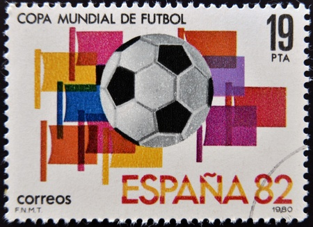 SPAIN - CIRCA 1980: Stamp printed in Spain dedicated to Football World Cup in Spain 1982, circa 1980  photo