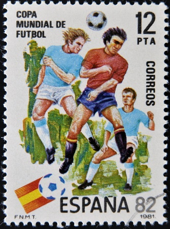 SPAIN - CIRCA 1981: Stamp printed in Spain dedicated to Football World Cup in Spain 1982, circa 1981