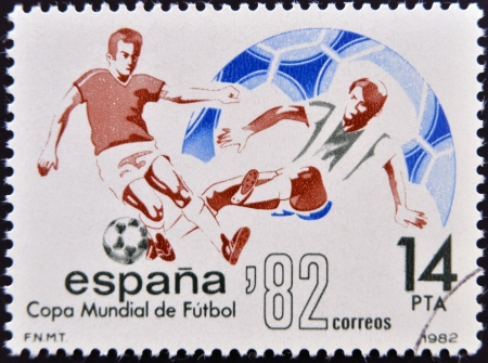 SPAIN - CIRCA 1982: Stamp printed in Spain dedicated to Football World Cup in Spain 1982, circa 1982