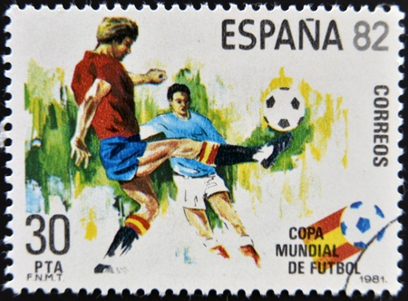 SPAIN - CIRCA 1981: Stamp printed in Spain dedicated to Football World Cup in Spain 1982, circa 1981  Stock Photo - 17145338