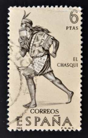 SPAIN - CIRCA 1966: A stamp printed in Spain shows The chasqui, mail the Incas, circa 1966  photo