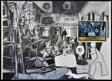 SPAIN - CIRCA 1978: A stamp printed in Spain shows Las Meninas by Pablo Picasso, circa 1978 Stock Photo