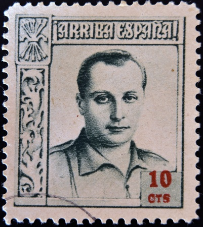 SPAIN - CIRCA 1937: A stamp printed in Spain shows Jose Antonio Primo de Rivera, circa 1937