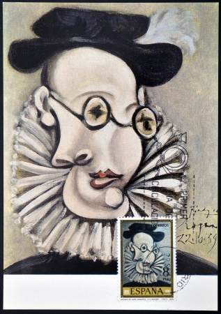 SPAIN - CIRCA 1978: A stamp printed in Spain shows the painting Portrait of Jaime Sabartes by Pablo Picasso, circa 1978
