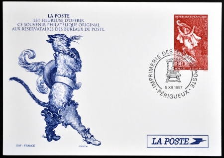 puss: FRANCE - CIRCA 1997: A stamp printed in France shows Puss in Boots, Perrault tale, circa 1997
