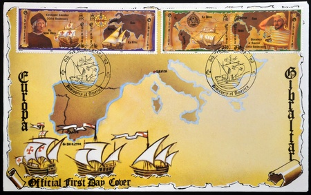 pinta: GIBRALTAR - CIRCA 1992: Stamps printed in Gibraltar celebrating the 500th anniversary of the landing of Christopher Columbus in the Americas, circa 1992