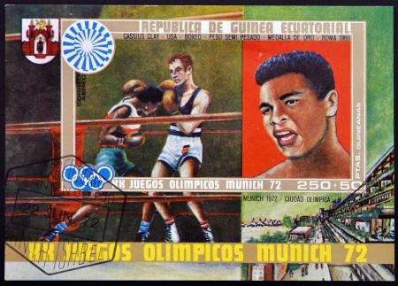 ali: EQUATORIAL GUINEA - CIRCA 1972: stamp printed in Equatorial Guinea shows Cassius Clay, Muhammad Ali, circa 1972 Editorial