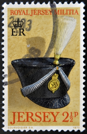 JERSEY - CIRCA 1972: Stamp printed in Jersey dedicated to Royal Jersey Militia, circa 1972 Stock Photo - 17140183
