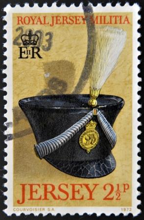 militia: JERSEY - CIRCA 1972: Stamp printed in Jersey dedicated to Royal Jersey Militia, circa 1972