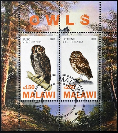 MALAWI - CIRCA 2010: Stamps printed in Malawi dedicated to owls, circa 2010 photo