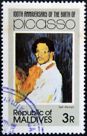 ruiz: MALDIVE ISLANDS - CIRCA 1981: stamp printed in Malldives Islands shows self portrait by Pablo Ruiz Picasso, circa 1981