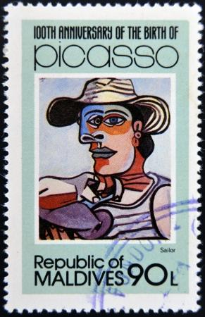 pablo: ISOLE MALDIVE - CIRCA 1981: timbro stampato in Malldives Isole mostra il marinaio di Pablo Ruiz Picasso, circa 1981 Archivio Fotografico