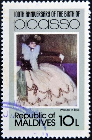 ruiz: MALDIVE ISLANDS - CIRCA 1981: stamp printed in Malldives Islands shows woman in blue by Pablo Ruiz Picasso, circa 1981