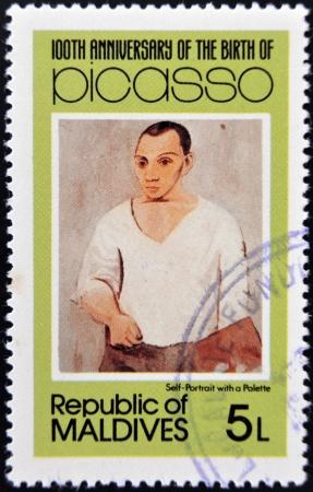ruiz: MALDIVE ISLANDS - CIRCA 1981: stamp printed in Malldives Islands shows self-portrait with a palette by Pablo Ruiz Picasso, circa 1981 Editorial
