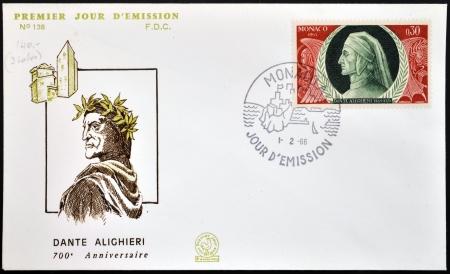 dante alighieri: MONACO - CIRCA 1965: A stamp printed in Monaco shows Dante Alighieri, circa 1965 Editorial