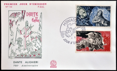 dante alighieri: MONACO - CIRCA 1965: A stamp printed in Monaco dedicated to Dante Alighieri, circa 1965