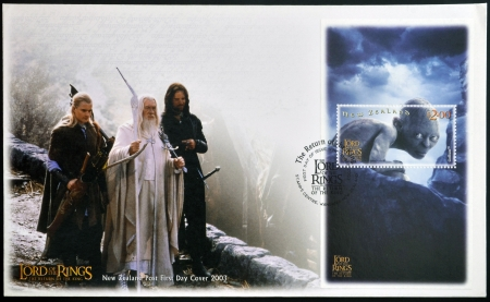 NEW ZEALAND - CIRCA 2003: stamp printed in New Zealand shows Scenes from The Lord of the Rings, circa 2003  Stock Photo - 17145250