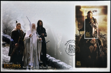 NEW ZEALAND - CIRCA 2003: A stamp printed in New Zealand dedicated to The Lord of the Rings shows Aragorn, circa 2003