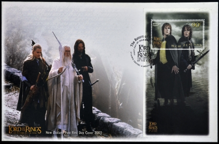 NEW ZEALAND - CIRCA 2003: stamp printed in New Zealand dedicated to The Lord of the Rings shows Merry and Pippin, circa 2003