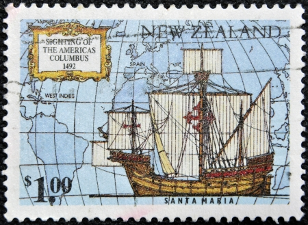 NEW ZEALAND - CIRCA 1992: A stamp printed in New Zealand devoted to 500th anniversary of the discovery of America, shows Ships of Columbus Santa Maria, circa 1992 Stock Photo - 17141033