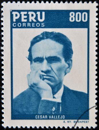 PERU - CIRCA 1986: A stamp printed in Peru shows Cesar Vallejo, circa 1986