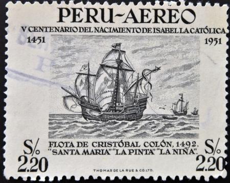 pinta: PERU - CIRCA 1951: Stamp printed in Peru dedicated to Birth of Isabella the Catholic shows fleet of Christopher Columbus, circa 1951