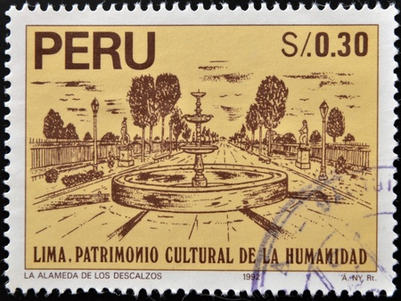 PERU - CIRCA 1992: A stamp printed in Peru dedicated to Lima humanity's cultural heritage, shows the bare Mall (La alamada de los descalzos), circa 1992 Stock Photo - 17140128