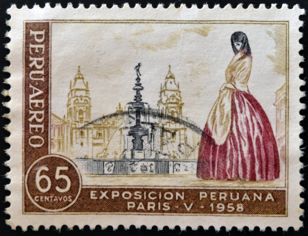 PERU - CIRCA 1958: A stamp printed in Peru dedicated to Peruvian Exhibition Paris shows Peruvian woman in the plaza of the Cathedral of Lima, circa 1958 photo
