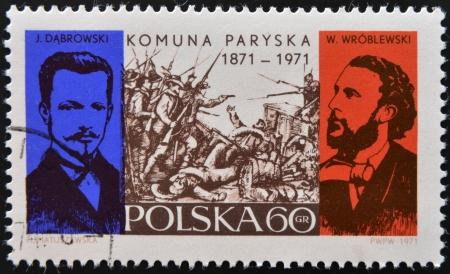 POLAND - CIRCA 1971: A stamp printed in Poland commemorating the centenary of the Paris Commune, circa 1971.  Stock Photo - 17145131