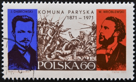 POLAND - CIRCA 1971: A stamp printed in Poland commemorating the centenary of the Paris Commune, circa 1971.  Stock Photo - 17145131
