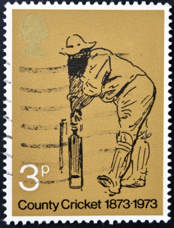 UNITED KINGDOM - CIRCA 1973: A stamp printed in Great Britain dedicated to County Cricket, circa 1973 Stock Photo - 17139364