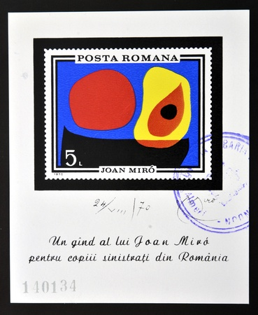 ROMANIA - CIRCA 1970: stamp printed in Romania show Abstract by Joan Miro, circa 1970.  photo