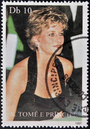 SAO TOME AND PRINCIPE - CIRCA 1997: A stamp printed in Sao Tome shows Diana Princess of Wales, circa 1997