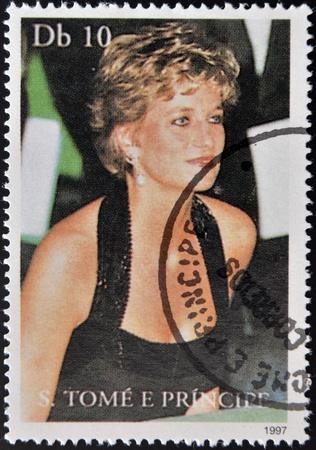 SAO TOME AND PRINCIPE - CIRCA 1997: A stamp printed in Sao Tome shows Diana Princess of Wales, circa 1997 Stock Photo - 17145585