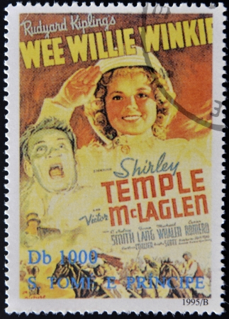 tome: SAO TOME AND PRINCIPE - CIRCA 1995: A stamp printed in Sao Tome shows movie poster Wee Willie Winkie, circa 1995