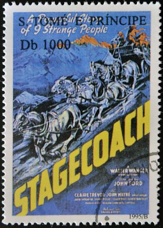 tomo: SAO TOME E PRINCIPE - CIRCA 1995: Un timbro stampato in Sao Tome mostra poster film diligenza, circa 1995