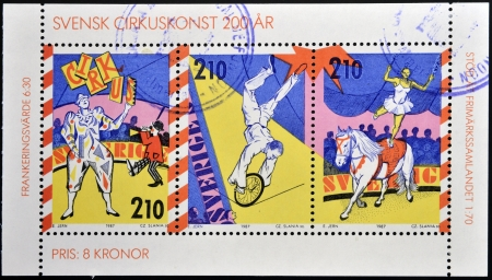 SWEDEN - CIRCA 1987: Stamps printed in Sweden dedicated to Circus, circa 1987 Stock Photo - 17140493