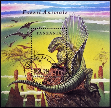 TANZANIA - CIRCA 1994: A stamp printed in Tanzania dedicated to fossil animals, shows a dimetrodon, circa 1994 photo