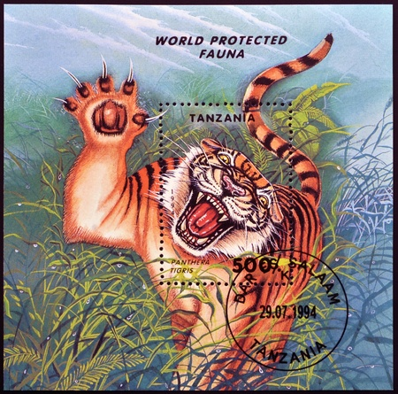 ussuri: TANZANIA - CIRCA 1994: A stamp printed in Tanzania shows Panthera Tigris, circa 1994