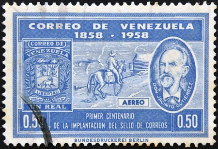 VENEZUELA - CIRCA 1958: A stamp printed in Venezuela dedicated to centenary of the introduction of the postage stamp, circa 1958