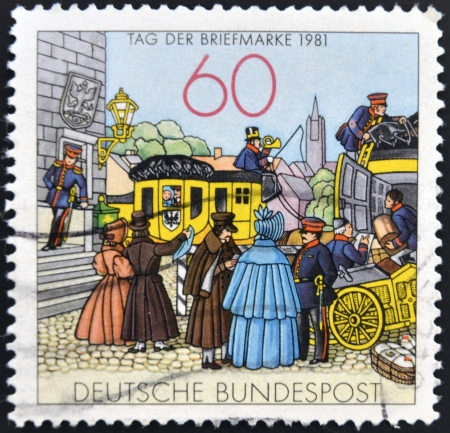 german ethnicity: GERMANY -  CIRCA 1981: stamp printed in Germany shows People by Mailcoach, lithograph, circa 1981.  Stock Photo