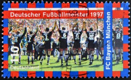 GERMANY- CIRCA 1997: stamp printed in Germany shows FC Bayern Munchen, 1997 German Soccer Champions, circa 1997.  Stock Photo - 17297752